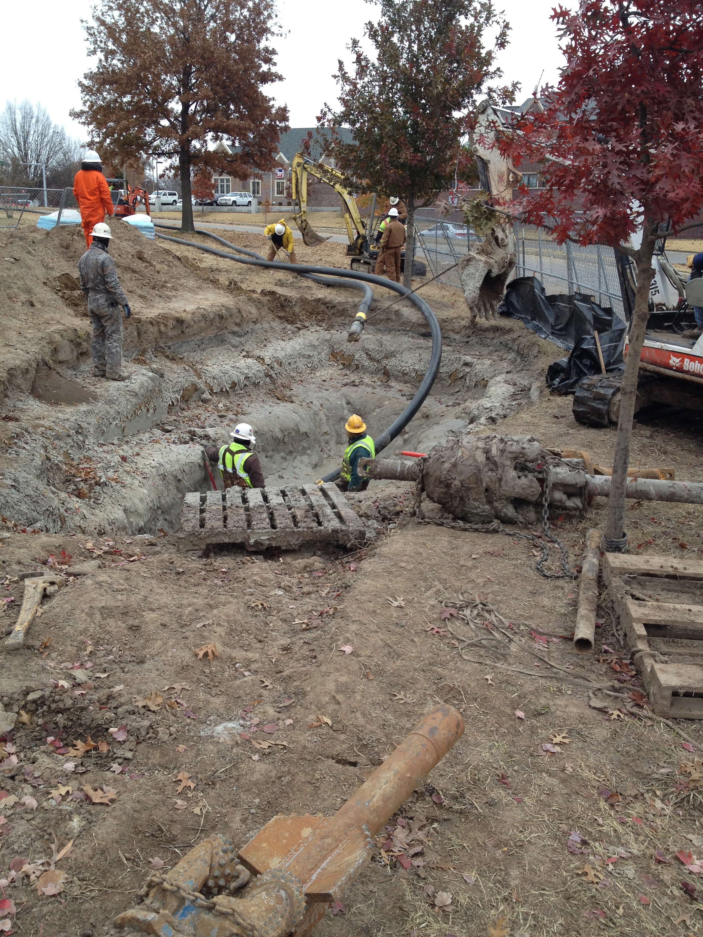 Boring Contractors Project Gallery | River Crossing Bore Exit Pit